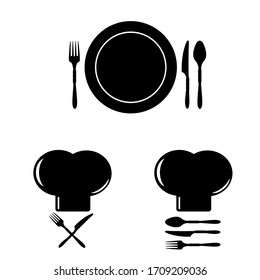 chef cooking hat illustration in black