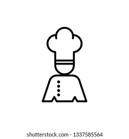 Chef in a cooking hat vector outline logo.