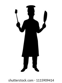 Chef is cooking silhouette vector