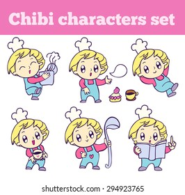 Chef in different movements. Professional adorable chibi character set. Isolated icons for your design.