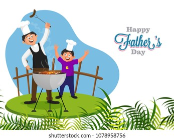 Chef, and father teaching his son on barbeque, Happy father and son duo on Father's Day concept.