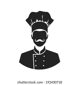 chef flat style black and white web icon