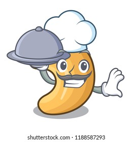 Chef with food cashew nuts hot baked on table cartoon