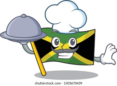 Chef with food flag jamaica character shaped on mascot