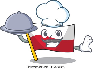 Chef with food flag poland hoisted isolated the character