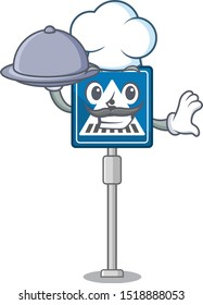 Chef with food miniature crosswalk sign in form mascot