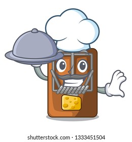 Chef with food mousetrap isolated with in the cartoon