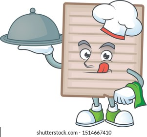 Chef with food vintage scrapbook paper cartoon for note