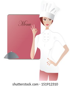 Chef in front of a Menu Board. Woman in cooker uniform showing Ok sign
