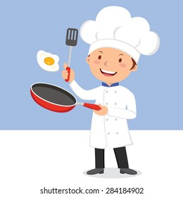 Chef frying egg. Chef man flipping egg in a flying pan.