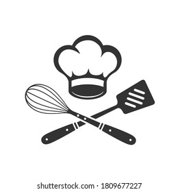 Chef Hat with cooking whisk and spatula. Label, badge, poster for food studio, cooking courses, culinary school. Cooking Class logo. Vector illustration
