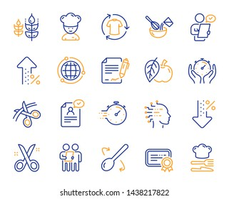 Chef hat, Customer survey, Fast delivery line icons. Approved application, Scissors cutting ribbon, Artificial intelligence icons. Percent decrease, interest rate, contract. Vector