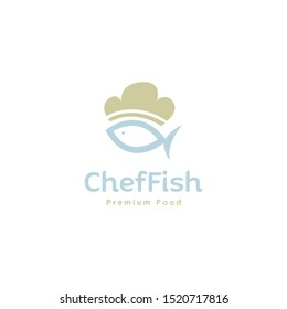 chef hat with fish sea food logo icon vector template