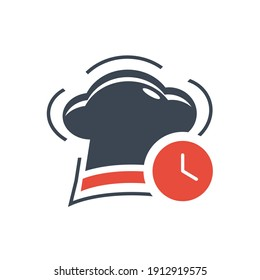 Chef hat icon. chef hat love, chef hat time icon with vector illustration and flat design. two color, circle background, black, white, color circle icon.