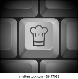 Chef Hat Icon on Computer Keyboard Original Illustration