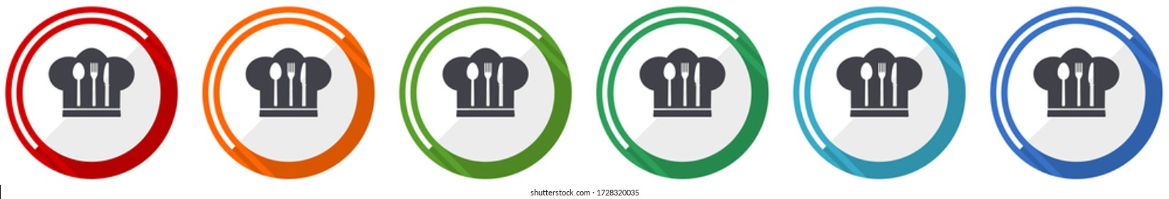 Chef hat icon set, cook and kitchen flat design vector illustration in 6 colors options for webdesign