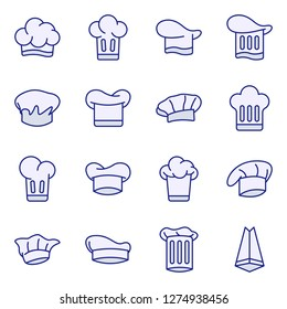 Chef hat icons pack. Isolated chef hat symbols collection. Graphic icons element