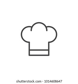 Chef hat line icon, outline vector sign, linear style pictogram isolated on white. Cuisine symbol, logo illustration. Editable stroke