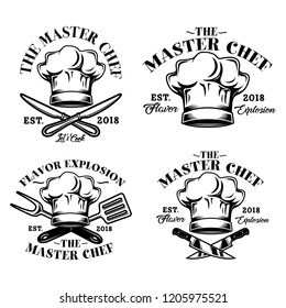Chef Hat, The Master Chef, Flavor Explosion Logo, Emblem, Badge illustration in White Background Stock Vector Set