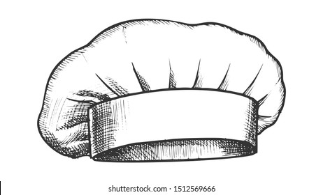 Chef Hat Professional Cooker Clothing Ink Vector. Fabric Hat Uniform Costume Wear Element. Garment Kitchen Workwear Engraving Mockup Hand Drawn In Retro Style Black And White Illustration