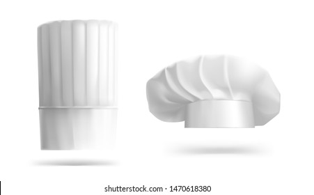 Chef hat with realistic shadow isolated on white background. Vector illustration. Ready for your design. EPS10.