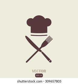 Chef hat sign icon. Cooking symbol. Cooks hat with fork and spoon.