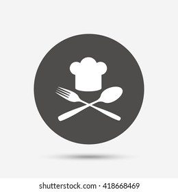Chef hat sign icon. Cooking symbol. Cooks hat with fork and spoon. Gray circle button with icon. Vector