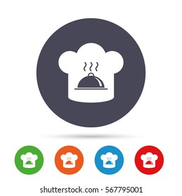 Chef hat sign icon. Cooking symbol. Cooks hat with hot dish. Round colourful buttons with flat icons. Vector