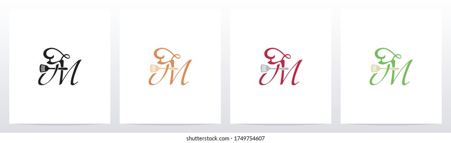 Chef Hat And Spatula On Letter Logo Design M
