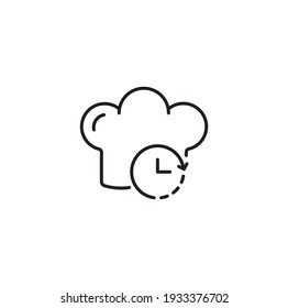Chef hat and timer cooking time simple thin line icon vector illustration