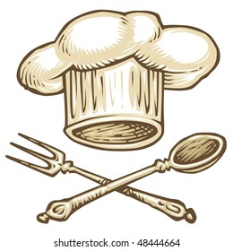 Chef Hat and Tools Color Illustration
