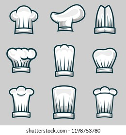 Chef Hats Object Illustration Stock Vector Set
