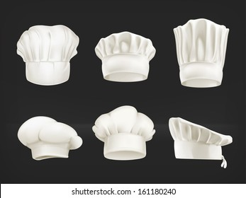 Chef hats vector set on black