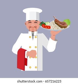 Chef holding dish of rice and meat