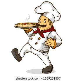 chef holding hot pizza vector cartoon illustration