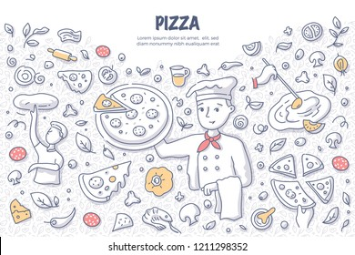 Chef holding pizza. Doodle vector concept of cooking pizza. Illustration for web banners, hero images, printed materials