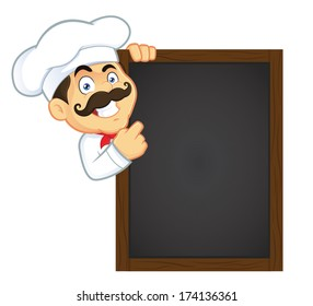 Chef Holding Wooden Menu Board