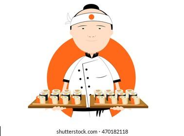 chef icon, japanese sushi