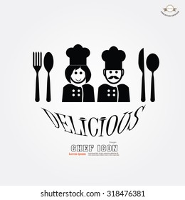 chef icon. chef man and woman. Chef symbol. vector illustration.