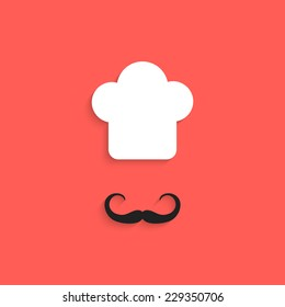 chef icon with mustache isolated on red background. flat style design trendy modern vector illustration