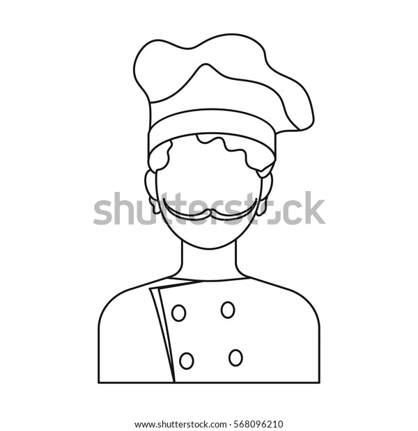 Chef icon in outline style isolated on white background. Pizza and pizzeria symbol stock vector illustration.