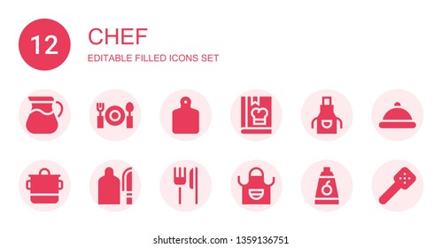 chef icon set. Collection of 12 filled chef icons included Pot, Dinner, Cutting board, Cook, Apron, Restaurant, Food, Serving dish, Slotted spoon