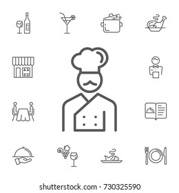 Chef icon Vector Illustration on the white background. Simple Set of restaurant Vector Line Icons.