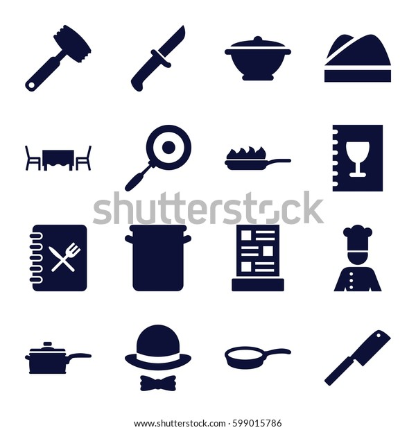 chef icons set. Set of 16 chef filled icons such as menu, restaurant table, hat and bow, pan, pan-fry, butcher knife
