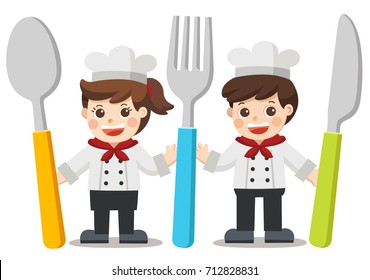 Chef Kids Menu. Children with knife, spoon and fork.