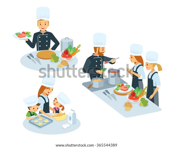 Chef Kitchen Appliances Foodcooking Class Mom Stock Vector ...