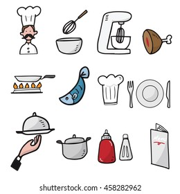 Chef and kitchen cartoon drawing icons set