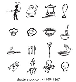 Chef and kitchen cartoon drawing icons