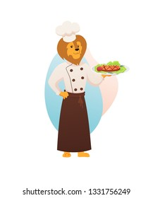 Chef Lion King of Animals Character Dressed in White Cooking Robe, Toque and Apron, Hold Plate with Fried Meat and Vegetables Dish in Paw Isolated on White Background. Flat Vector Illustration, Icon.