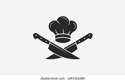 Chef logo with chef's hat and knives icons. Cooking vintage logo. Cooking Classes template logo. Label, badge for food studio, cooking courses, culinary school. Vector illustration